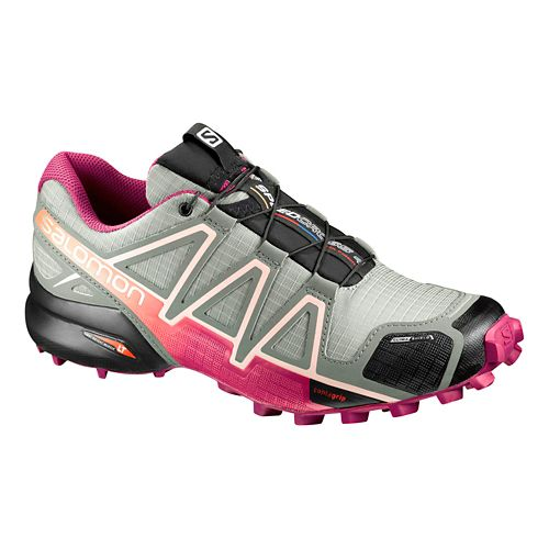 Womens Salomon Speedcross 4 CS Running Shoe - Grey/Sangria 8.5