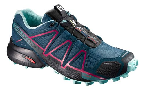 Womens Salomon Speedcross 4 CS Running Shoe - Blue/Pink 7.5