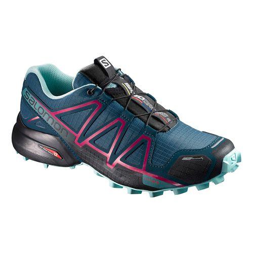 Womens Salomon Speedcross 4 CS Running Shoe - Blue/Pink 11