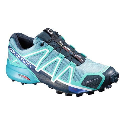 Salomon Womens Speedcross 4 CS Running Shoe - Blue Gum/Bubble 11