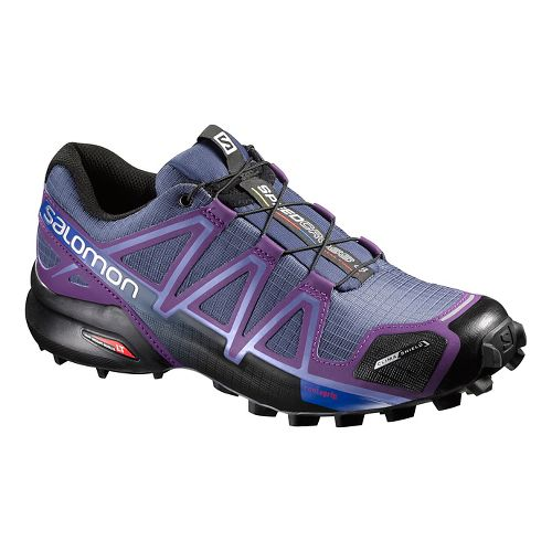 Womens Salomon Speedcross 4 CS Running Shoe - Stateblue/Purple 5.5