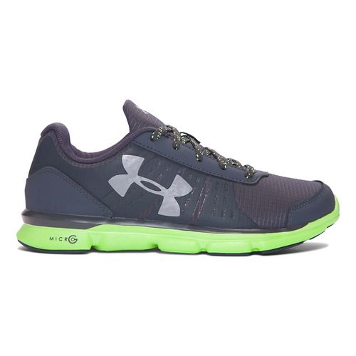 Kids Under Armour Micro G Speed Swift Grit Running Shoe - Stealth Grey/Lime 5.5Y