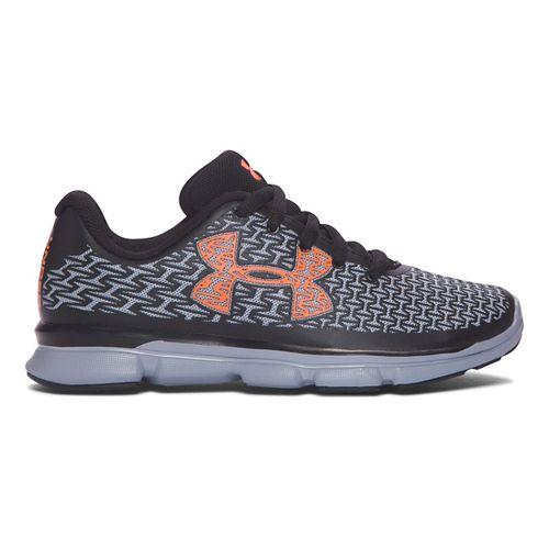 Kids Under Armour ClutchFit RebelSpeed Running Shoe - Black/Blaze Orange 3Y