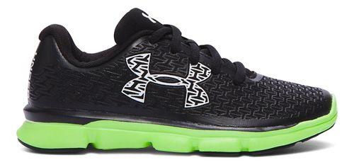Kids Under Armour ClutchFit RebelSpeed Running Shoe - Black/Lime Light 2Y