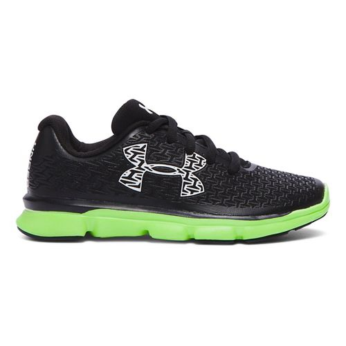 Kids Under Armour ClutchFit RebelSpeed Running Shoe - Black/Lime Light 12C