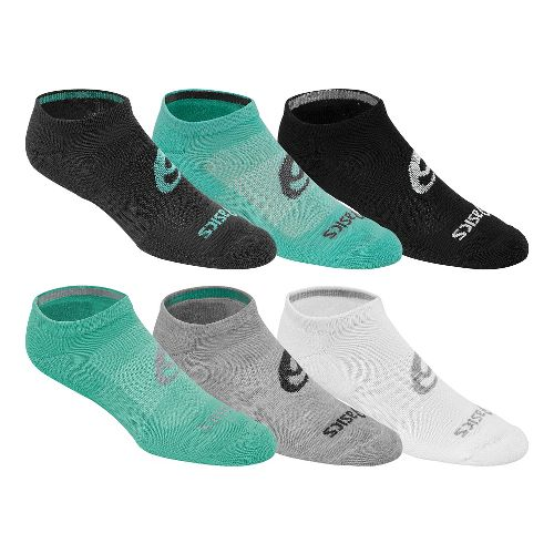 Womens ASICS Invasion No Show 18 Pack Socks - Aqua Mint L