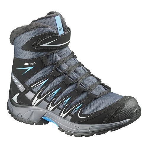 Kids Salomon XA Pro 3D Winter CSWP J Trail Running Shoe - Grey/Black/Blue 1Y