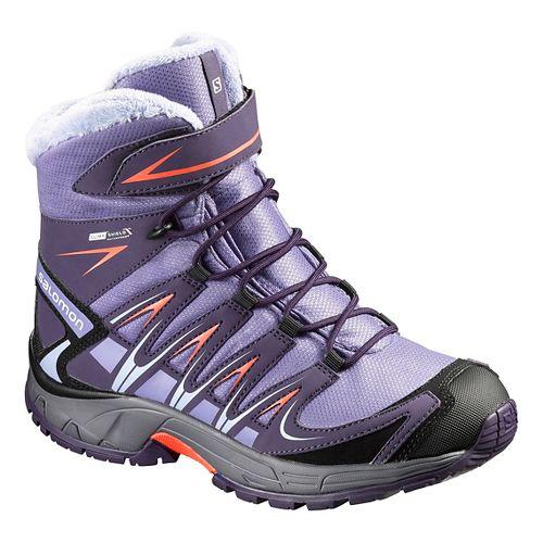Kids Salomon XA Pro 3D Winter CSWP J Trail Running Shoe - Grey/Coral Punch 4Y ...
