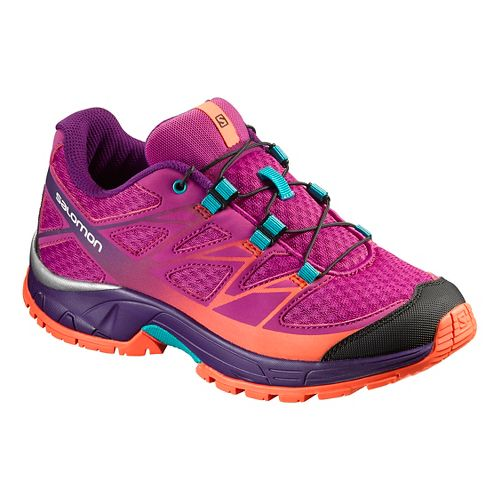 Kids Salomon Wings J Trail Running Shoe - Purple/Coral Punch 3Y