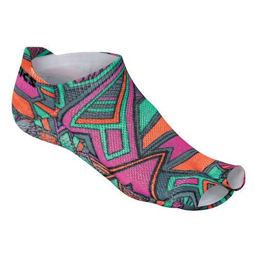 Womens ASICS Studio No-Slip Single Tab Toeless 3 Pack Socks - Geotribal Print M