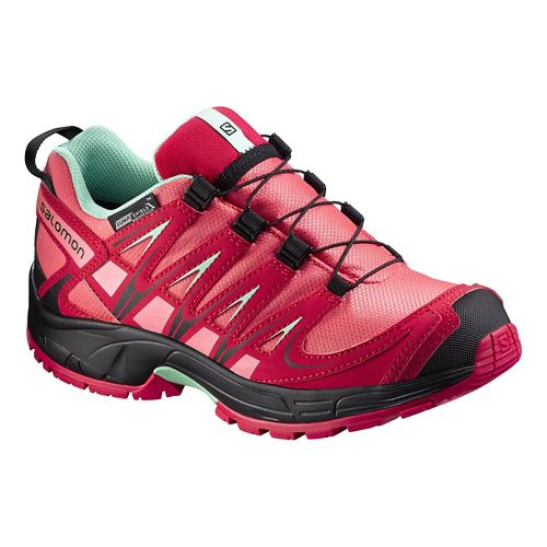 Kids Salomon XA Pro 3D CSWP J Trail Running Shoe - Madder Pink/Green 6Y
