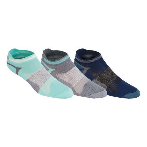 Womens ASICS Quick Lyte Single Tab 9 Pack Socks - Aqua/Grey M
