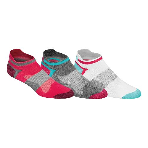 Womens ASICS Quick Lyte Single Tab 9 Pack Socks - Azalea/Grey M