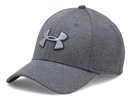 Mens Under Armour Heathered Blitzing Cap Headwear - Black/Steel L/XL