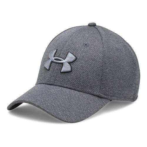 Mens Under Armour Heathered Blitzing Cap Headwear - Black/Steel XL/XXL