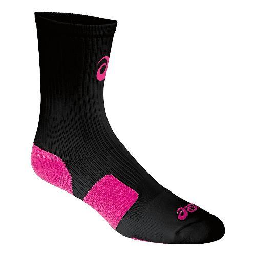 ASICS Stripe Crew 3 Pack Socks - Black/Pink Glo L