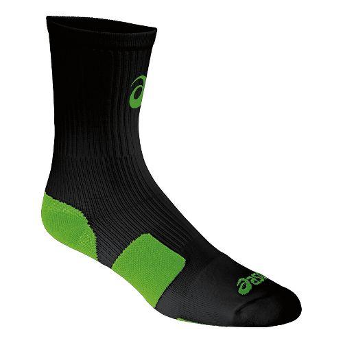ASICS Stripe Crew 3 Pack Socks - Black/Neon Green S
