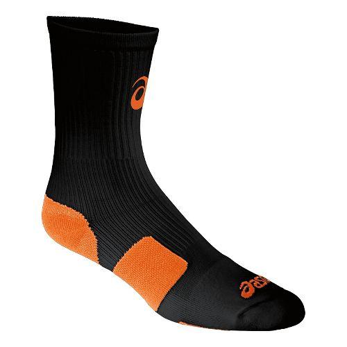 ASICS Stripe Crew 3 Pack Socks - Black/Neon Orange S