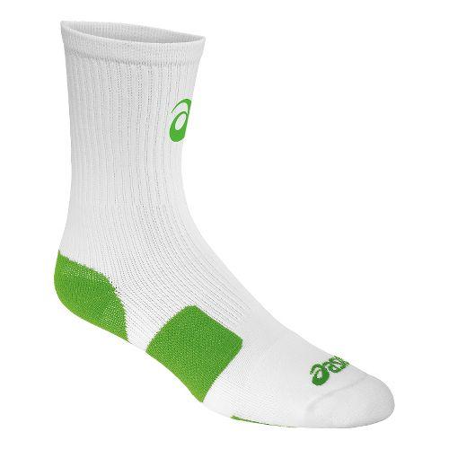 ASICS Stripe Crew 3 Pack Socks - White/Neon Green L