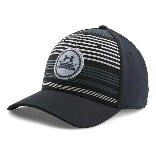 Mens Under Armour Striped Low Crown Cap Headwear - Black/Steel XL/XXL