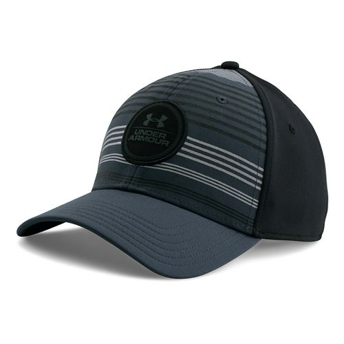 Mens Under Armour Striped Low Crown Cap Headwear - Grey/Graphite M/L