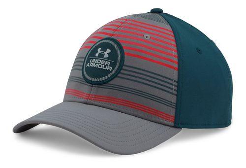 Mens Under Armour Striped Low Crown Cap Headwear - Graphite/Teal M/L