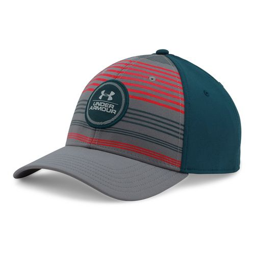 Mens Under Armour Striped Low Crown Cap Headwear - Graphite/Teal L/XL