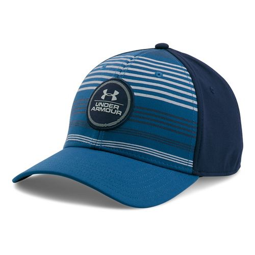 Mens Under Armour Striped Low Crown Cap Headwear - Heron/Midnight Navy M/L