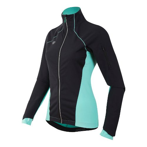Womens Pearl Izumi Pursuit Softshell Cold Weather Jackets - Black/Aqua Mint XS