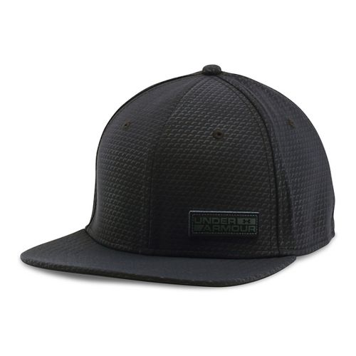 Mens Under Armour Embossed Flat Brim Stretch Fit Cap Headwear - Black M/L