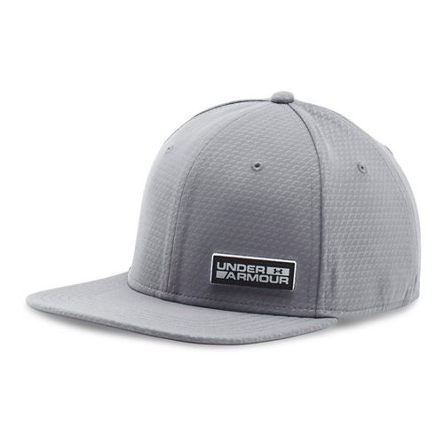 Mens Under Armour Embossed Flat Brim Stretch Fit Cap Headwear - Graphite L/XL