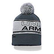 Mens Under Armour Pom Beanie Headwear - Grey Heather/Black