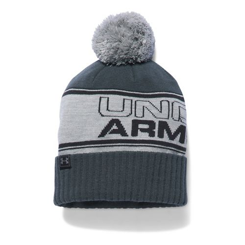 Mens Under Armour Pom Beanie Headwear - Grey Heather/Black