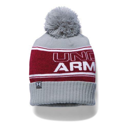 Mens Under Armour Pom Beanie Headwear - Red/Grey