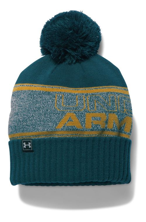 Mens Under Armour Pom Beanie Headwear - Gold/Teal