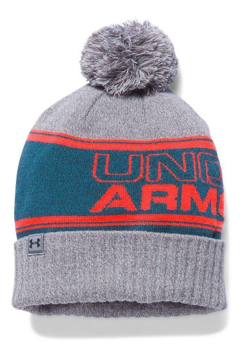 Mens Under Armour Pom Beanie Headwear - Peacock/Grey