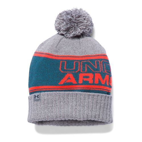 Mens Under Armour Pom Beanie Headwear - Peacock/Grey
