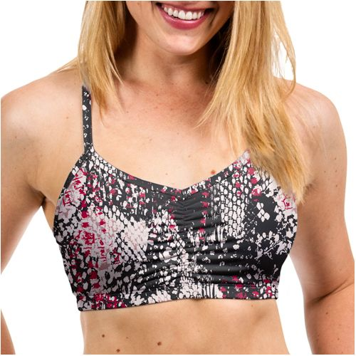 Womens Handful Adjustable Printed Sports Bra - Lizard L