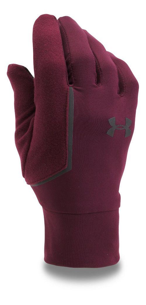 Mens Under Armour No Breaks Armour Liner Handwear - Raisin Red XL