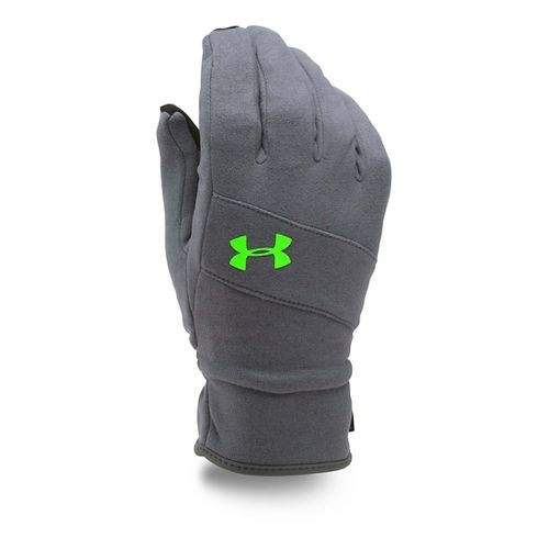Mens Under Armour Elements Glove Handwear - Grey/Hyper Green L