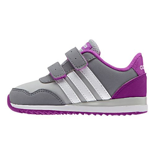 adidas Kids V Jog Casual Shoe - Grey/White/Purple 5.5C