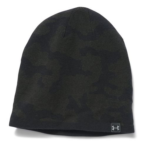 Mens Under Armour Reversible Beanie Headwear - Army Green/Black
