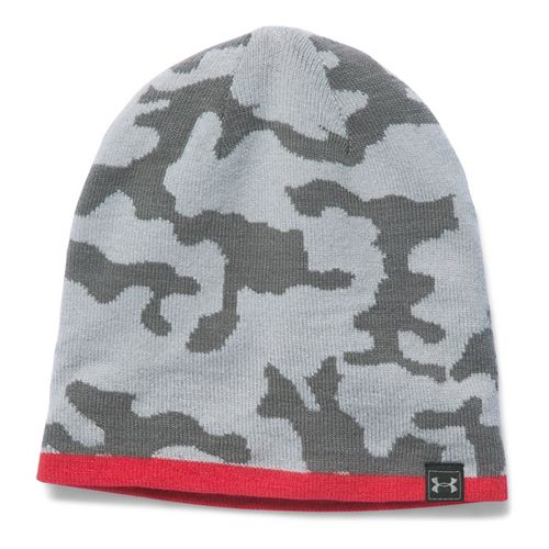 Mens Under Armour Reversible Beanie Headwear - Overcast Grey/Red