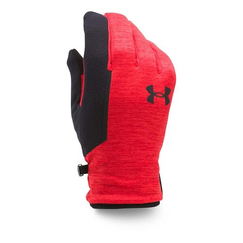 Mens Under Armour No Breaks Armour Fleece Glove Handwear - Red/Stealth Grey L