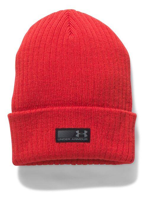 Mens Under Armour Truck Stop Beanie Headwear - Red