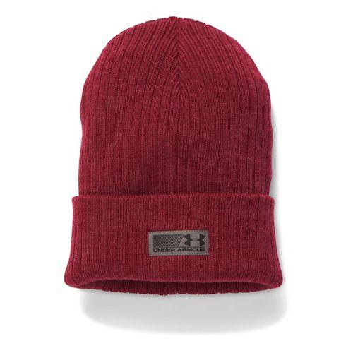 Mens Under Armour Truck Stop Beanie Headwear - Cardinal