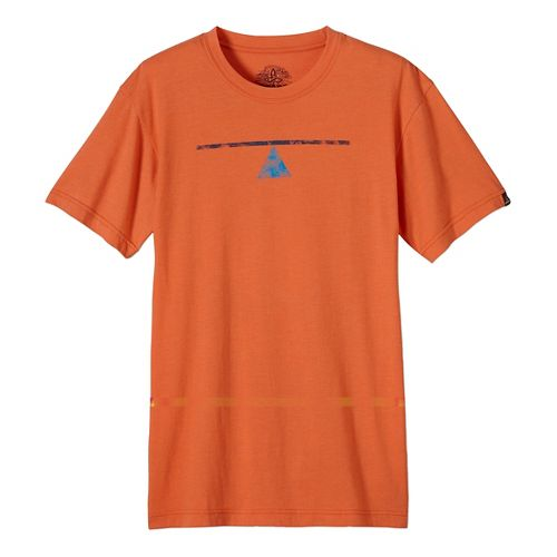 Mens prAna Balance Slim Short Sleeve Non-Technical Tops - Orange L