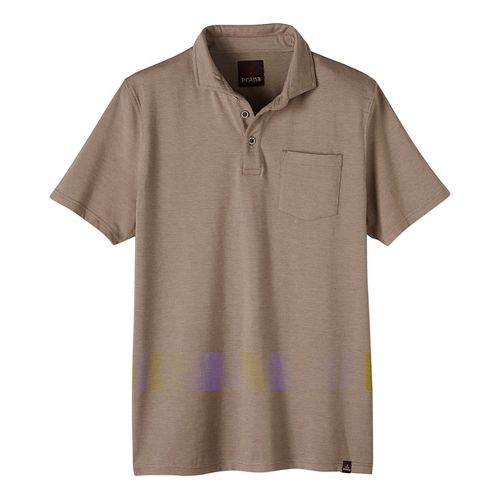 Mens prAna Brock Short Sleeve Non-Technical Tops - Brown M