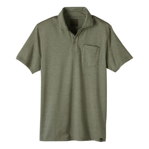 Mens prAna Brock Short Sleeve Non-Technical Tops - Green L