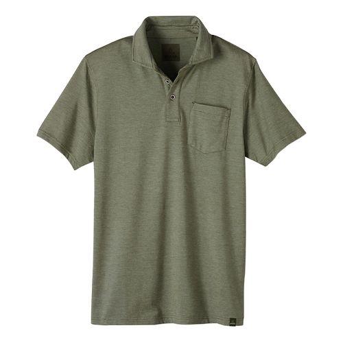 Mens prAna Brock Short Sleeve Non-Technical Tops - Green XL
